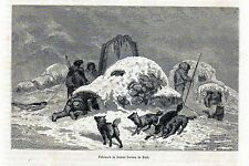 Antique print eskimo Etah Greenland North Pole 1869 stampa antica Eschimese
