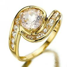 Jewellry Womens Size 7 Round Cut AAA Topaz 18K Gold Filled Wedding Fashion Rings