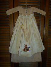 Primitive Wall Decor Dress TAN CHECK W/ APRON Rag Doll Bunny,Hare,Rabbit,Easter