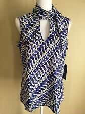 Evan Picone Black Label Blouse SZ 16 New Sleeveless Attached Scarf Blue Abstract