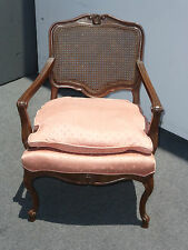Vintage French Provincial Cane Back Pink ARM CHAIR Wood Carved Frame