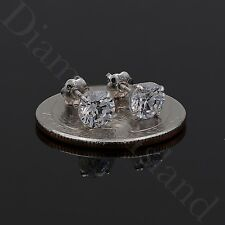 1.5 CT ROUND EARRINGS 14K SOLID WHITE GOLD BASKET STUDS BRILLIANT SCREWBACK