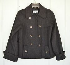NWOT CALVIN KLEIN 8 Wool Blend Charcoal Gray Peacoat Double Breasted Jacket