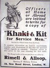 Small 1916 Rimell & Allsop WW1 Officers' Khaki & Kit ADVERT - Wartime Print Ad