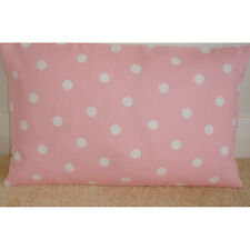 "NEW 20"" x 12"" Oblong Bolster Cushion Cover Baby Pink White Polka Dots 12x20"