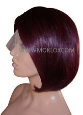"Remy Human Hair Wig Full Lace 10"" Short Bob Medium Straight Dark Red Plum 99J UK"
