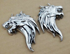 Motorcycle Chrome Metal Wolf Gas Tank Fairing 3M Decal Sticker Emblem For Suzuki