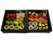 2 Sushi Bento Wooden Box Dollhouse Miniatures Japanese Food Deco Supply -3