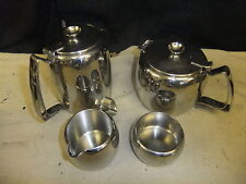Stainless steel tea set OLD HALL tea & coffee pot (1pt), sugar & milk jug