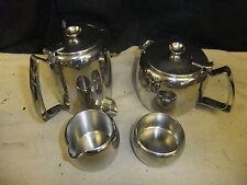 Stainless steel tea set OLD HALL tea & coffee pot (1pt), sugar & milk jug
