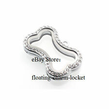 1PC 30mm Alloy dog bone magnetic silver Rhinestone glass floating charms locket