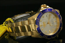 Invicta Pro Diver 18K Gold Plated 40MM Champagne Dial Blue BezelSS Braclet Watch