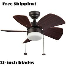 "Brown Ceiling Fan Light Kit Bronze 30"" Small 3 Speed Breeze Cooler Indoor Space"