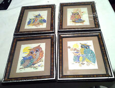 "4 Real Cute Framed Owl Pictures Signed Heather 8 1/4"" by 7 1/4"""