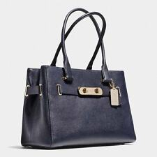 NWT Coach Pebbled Leather Swagger Carryall Handbag Navy #36488 $395