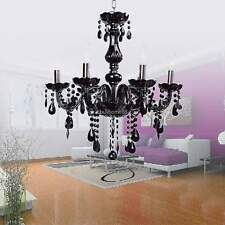 All Crystal European Wall Chandeliers 6 Lights Fixture   110V Black