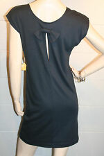 XS~S NOS VTG 80s NEW KEYHOLE CUT SLIT BOW BACK DARK GRAY COTTON KNIT MINI DRESS