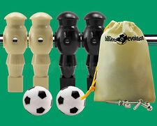 """2 Tan/2 Black Robotic Foosball Men-5/8"""" Rod + 2 Soccer Foosballs + 4 Screws/Nuts"""