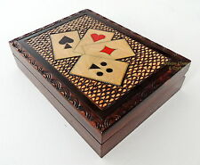 BRAND NEW HANDCRAFTED ACES WOODEN PLAYING CARD BOX. FREE SHIPPING