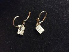 VINTAGE 14K YELLOW GOLD WHITE STONE DANGLE EARRINGS