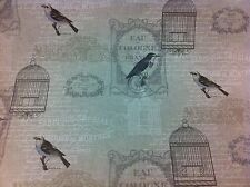 Fryetts Vichy Natural .Vintage Bird Cages.Thick Cotton Fabric Curtain/Upholstery