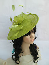 NEW LIME SINAMAY & FEATHER FASCINATOR HAT.Shaped saucer disc,Wedding.