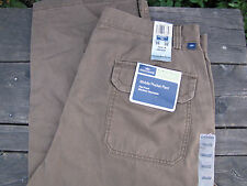 DOCKERS Olive Green Flat Front Relaxed Fit Khaki Pants Size 36 x 32 NWT