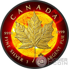 SOLAR FLARE Maple Leaf Space Collection 1 Oz Silver Coin 5$ Canada 2015