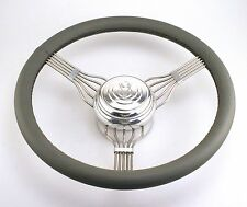 STAINLESS STEEL BANJO LEATHER WRAP STEERING WHEEL GREY V8 Button Ford Chevy