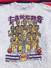 VTG Los Angeles LAKERS NBA Caricature 1992 t shirt L Sam Perkins Vlade Divac USA