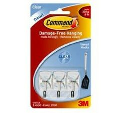 NE 3M COMMAND 17067CLR CLEAR WIRE ADHESIVE SMALL HANGER HOOKS STRIPS 4372744
