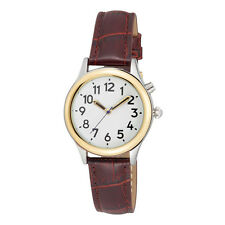 Ladies Two Tone Talking Watch White Face Brown Leather Band - Choice of  M/F