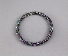 Seed bead woven bangle bracelet beaded round stackable metallic Buy2get2FREE