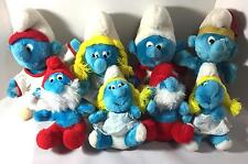 Lot of 8 Vintage Plush Smurfs Peyo 1981 - 1982 Baseball Football Native American
