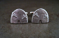 Handmade Oxidized Silver Bee Hive Cuff Links