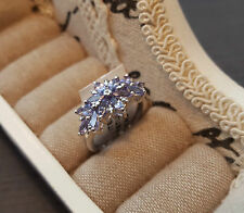 Beautiful Natural Tanzanite Cluster Ring in Platinum over Sterling Silver 'N'