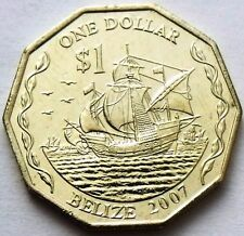 BELIZE 1 DOLLAR 2007 SAILING SHIP - COLUMBUS 3 SAILING SHIPS 10-SIDED UNC COIN