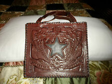 Handmade Hand Tooled crafted Mexican Genuine cow Leather Purse BROWN XL