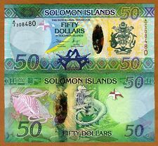 Solomon Islands, $50, ND (2013), Pick New Hybrid Polymer UNC   Lizards