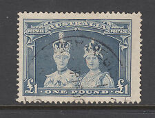 Australia Sc 179a used 1938 £1 blue gray definitive on thin paper, light cancel