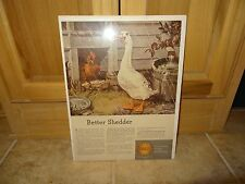 1945 SHELL OIL RESEARCH AD AL STAEHLE DUCK & ROOSTER ART AD ~ BETTER SHEDDER