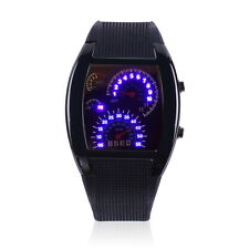 Mens Sports RPM Turbo Blue Flash LED Sport Car Meter Dial Watch Wristwatch Black