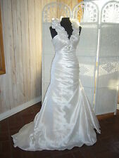405 Sincerity Bridal 3603 IVORY SZ 8 Halter Satin Mermaid Wedding Gown