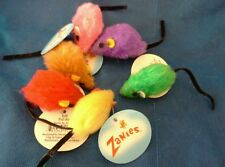 Zanies Plush Mice Cat Toy. Come in 6 Bright, Beautiful Colors.  Lot of 6.
