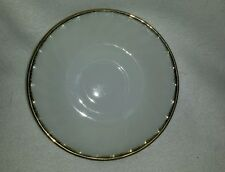 "Fire King Oven Ware Ivory White Glass Swirl Gold Feather 6"" Tea/coffe Plate"