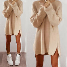 Womens Long Sleeve Jumper Tops Knitted Sweater Loose Tunic Mini Dress UK 6-16