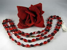 """Gorgeous Red Glass Beaded  Czechoslovakia 49"""" Necklace CAT RESCUE"""