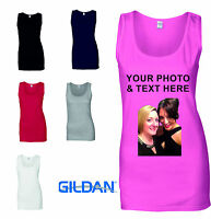 Ladies Custom Printed Vest Customised Personalised T-Shirt Tank Top Hen Party