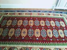 "77""x130"" Antique Hand Woven Wool Cotton Reversible Kilim Flat Weave Area Rug"