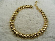 Goldtone Half Noodle Link Chain Necklace (D78)